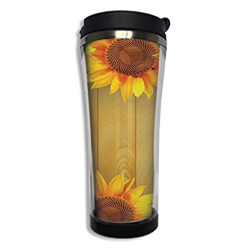 Travel Coffee Mug 3D Printed Portable Vacuum Cup,Insulated Tea Cup Water Bottle Tumblers for Drinking with Lid 8.45 OZ(250 ml)by,Sunflower Decor,Sunflower Arranged in A Circle on A Wooden Background F