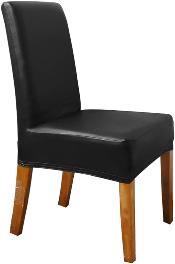 VOSAREA Dining Chair Slipcover PU Removable Stretch Chair Cover Dining Chair Protector Cover for Dining Room Home Hotel Office (Black)