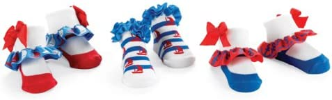 Mud Pie Boathouse Baby Girls Blue and Red Cotton Socks, Nautical, 0-12 Months