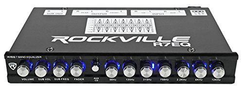 Rockville R7EQ 1/2 Din 7 Band Car Audio Equalizer EQ w/Front, Rear + Sub Output