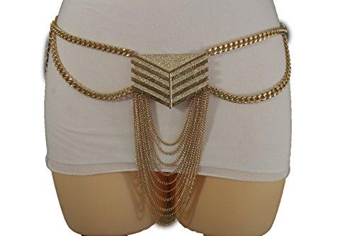 TFJ Women Fashion Belt Elastic Big Gold Metal Feminine Boho Charm Buckle Long Drop (Gold Medium-XL 30
