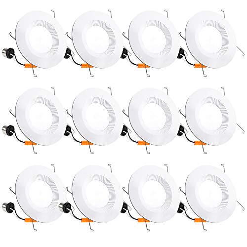 12 Pack 5/6 Inch LED Recessed Lighting, Baffle Trim, CRI90, 15W=100W, 1100lm, 5000K Daylight White, Dimmable Recessed…