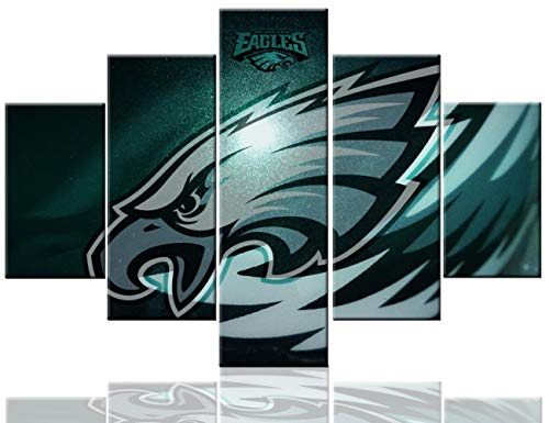 Sports Wall Decor Philadelphia Eagles Paintings Super Bowl Pictures 5 Pcs/Multi Panel Canvas National Football League/NFL Artowrk Home Decor for Living Room Giclee Framed Ready to Hang(60