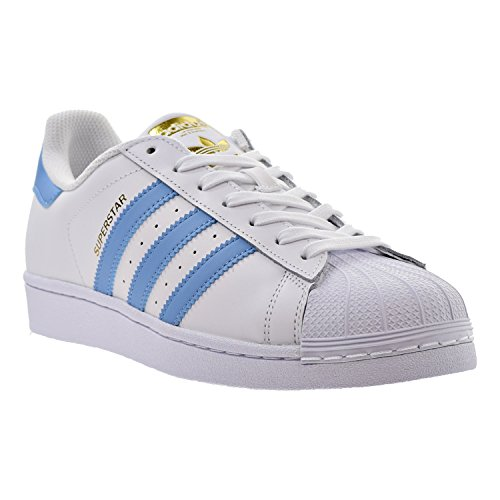 adidas Originals Herren Superstar Foundation Casual Sneaker Weiß / Hellblau-Gold