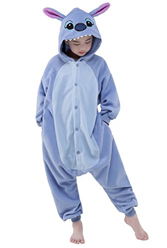 NEWCOSPLAY Kids Plush One Piece Cosplay Onesies Costume (85, Blue Stitch) -