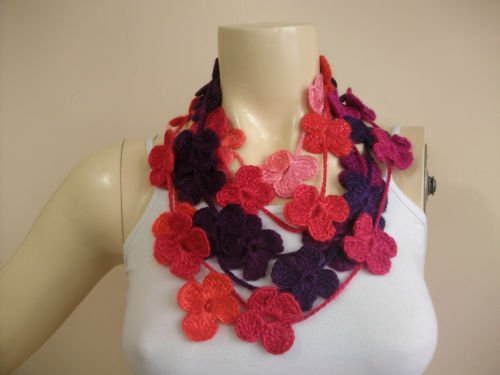Crochet Scarf -necklace Lariat Scarf--coral, Purple,hot pink,red Lariat Necklace Scarf-winter Accessory