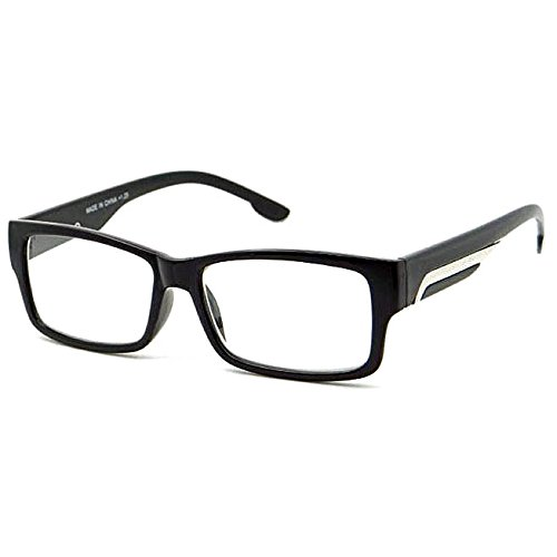 VINTAGE Designer Style Rectangle Frame Clear Lens Eyeglasses (Black, - Eyeglasses Styles Latest