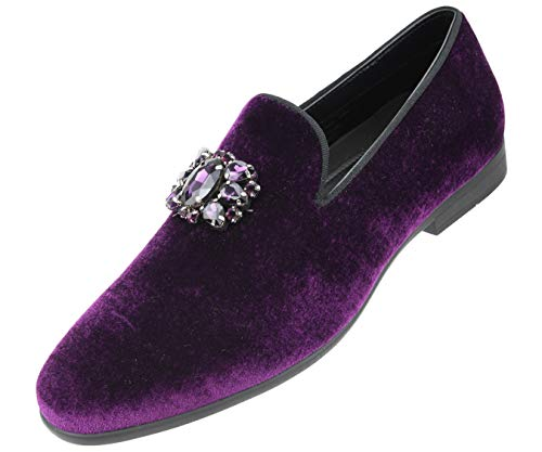 Amali Men's Faux Velvet Slip on Loafer with Jeweled Bit and Matching Piping Dress Shoe, Style Tiago Purple