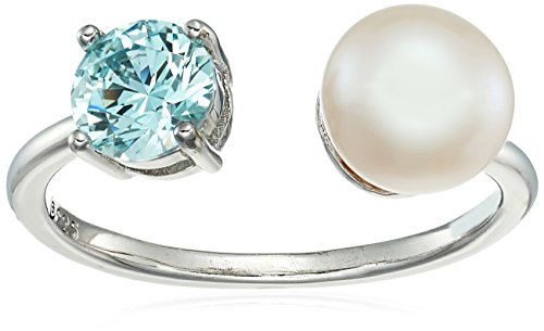 Swarovski Mint - Platinum-Plated Sterling Silver Freshwater Pearl Open with Frosty Mint Swarovski Zirconia Accents Ring, Size 6