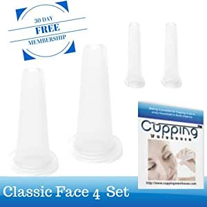 Classic Facial 4 Kit - Professional Medical Silicone Massage Kit with Free Online Membership with Video's, Demonstrations and Tutorials- Cupping Set by Cupping Warehouse TM Fine Lines, Wrinkle Reducing. Skin Lifting, Plumping Anti Aging Product. With Free Membership Videos'a and Tutorials.