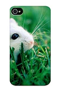 Durable Protector Case Cover With White Hamster In Grass Hot Design For Iphone 4/4s (ideal Gift For Lovers)