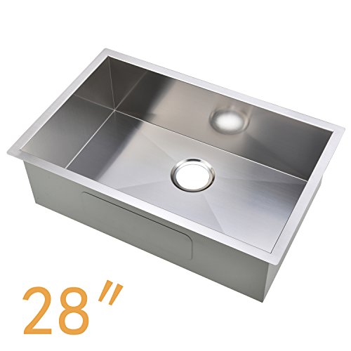 (Ufaucet Commercial 28 Inch 16 Gauge Undermount Single Bowl Stainless Steel Kitchen Sinks)