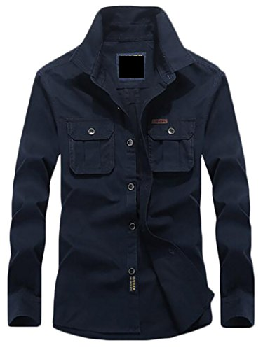 Cotton Sleeve today Blue Button Cargo Military Men's Style Shirt Long UK Casual Down xBqzBwFO