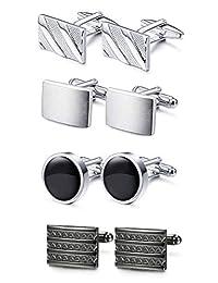 FUNRUN JEWELRY 4 Pairs Men Copper/Stainless Steel Cufflinks Set Unique Wedding Business Classic Cufflinks