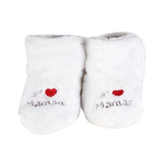 """Zapatos para bebé de invierno, interior, rellenos """"j'aime maman"""", color rosa y blanco blanco blanco Talla:6 a 12 meses"""