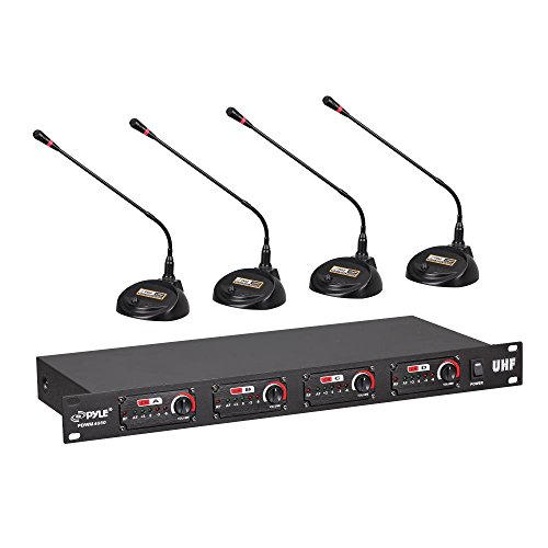 - Pyle 4 Channel Wireless Microphone System - Professional Rack Mount UHF Receiver and Cable Free Desktop Transmitter Mic Set w/ Mesh Head, Volume Controls, AF / RF Signal Indicators, XLR
