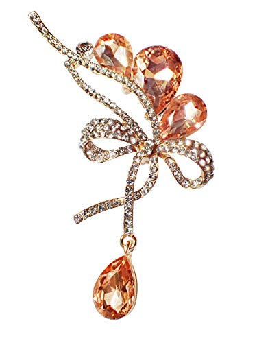 (Bijoux De Ja Rhodium-Plated Base Rhinestone Crystal Ribbon Bow Brooch Pin (Peach))