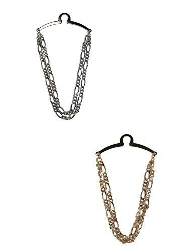 - Competition Inc. Men's Double Figaro Link Style Tie Chain, Gold/Silver