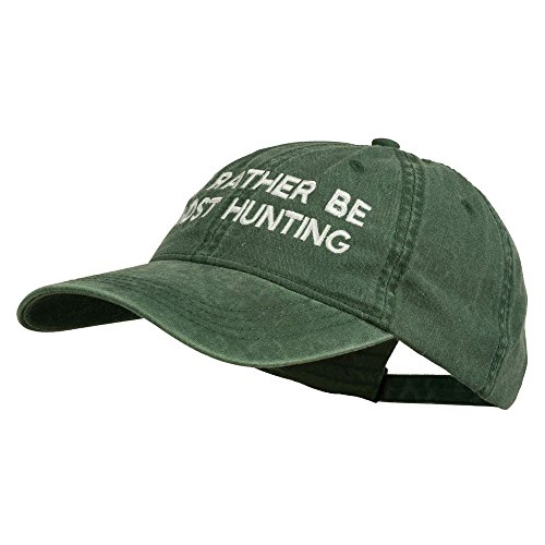 E4hats I'd Rather Be Ghost Hunting Embroidered Washed Cap - Dark Green OSFM