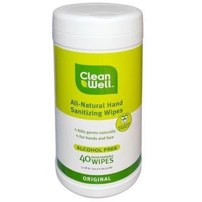 Cleanwell All Natural Original Hand Sanitizing Wipe - 40 per pack - 2 packs per case. (Original Disinfectant)