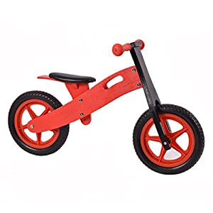 "Costzon 12"" Wooden No-Pedal Balance Bike Classic Bicycle for Kids from Age 2-5 w/Adjustable Seat (Red)"