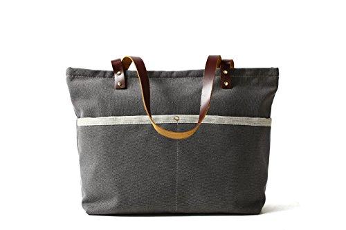 ROCKCOW Waxed Canvas with Leather Tote Bag Shoulder Bag Metal zipper Handbag by ROCKCOW