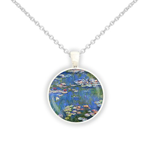 Monet Silver Necklace - Water Lilies w/ Blue Water Monet Art Painting 1