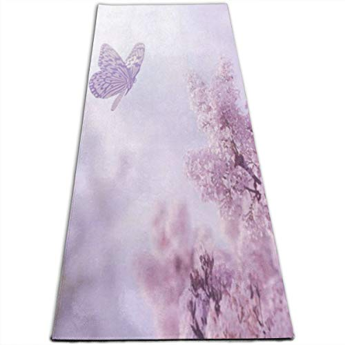 - Purple Butterfly and Flower Yoga Mat-All-Purpose High Density Non-Slip Exercise Unique Yoga Mats for All Types of Yoga, Pilates & Floor Exercises (70
