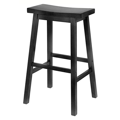 "Winsome 29"" Saddle Seat Bar Stool in Warm Black"
