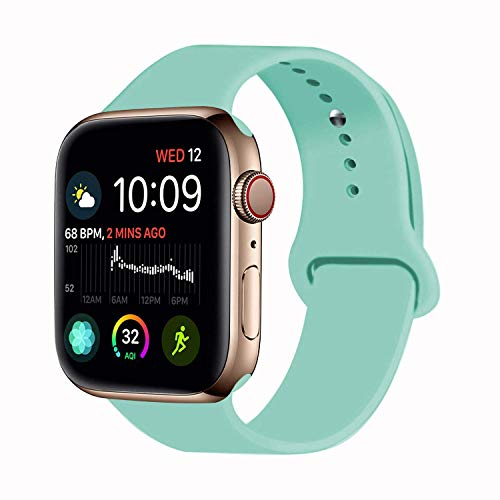 VATI Sport Band Compatible for Apple Watch Band 42mm 44mm, Soft Silicone Sport Strap Replacement Bands Compatible with 2018 iWatch Apple Watch Series 4/3/2/1, 42MM 44MM M/L (Marine Green)