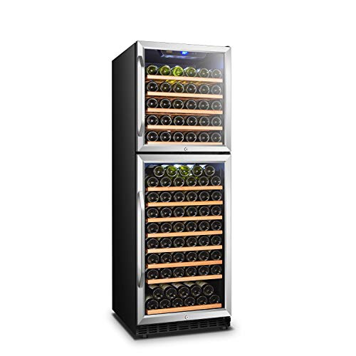 LANBO Red Wine Cooler, 162 Bottle Dual Zone Compressor Wine Refrigerator, Built-in or Freestanding with Stainless Steel Trimmed Tempered Glass Door