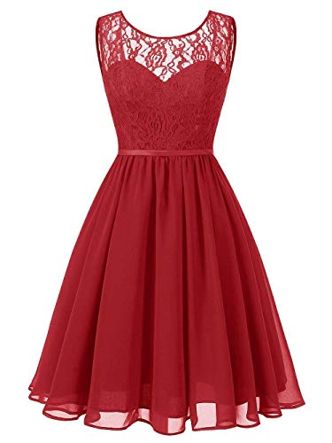 Jaeden scuro Dresses Chiffon Prom Honor Lady pizzo Short rosso D2WI9EHY