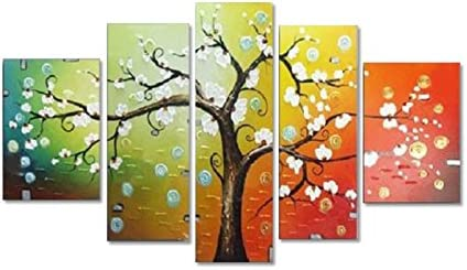 Wieco Art – Lucky Tree Modern 5 Panels 100 Hand Painted Floral Oil Paintings on Canvas Wall Art Home Decorations for Living Room Bedroom Contemporary Stretched and Framed Pretty white Flowers Artwork