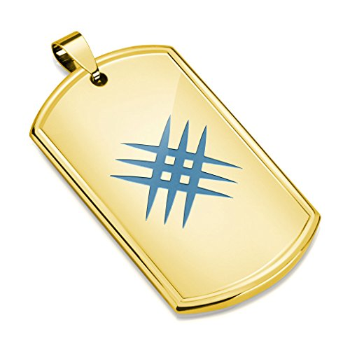 - Inspiration Dezigns Laser Etched Crossed Scratch Stainless Steel Dog Tag Pendant (Gold/Blue Scratch)