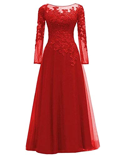 (Women's Lace Appliques Mother of The Bride Dress Tulle Long Sleeves Evening Prom Gown BeadedRed US12)