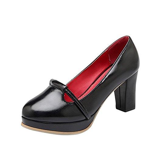 MissSaSa Damen modern und simpel Chunky high-heel Plateau Low-cut runde Spitze Pumps Schwarz