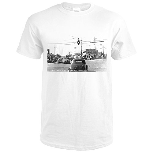 Seattle, Washington - View Of White Center Shopping District (Premium White T-Shirt - Seattle Shopping Centre