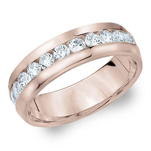 1ct Classic Men's Diamond Ring in 14K Rose Gold, 1.0 cttw Wedding Anniversary Ring for Men - Finger Size 9 (Mens Rose Gold And Diamond Wedding Bands)