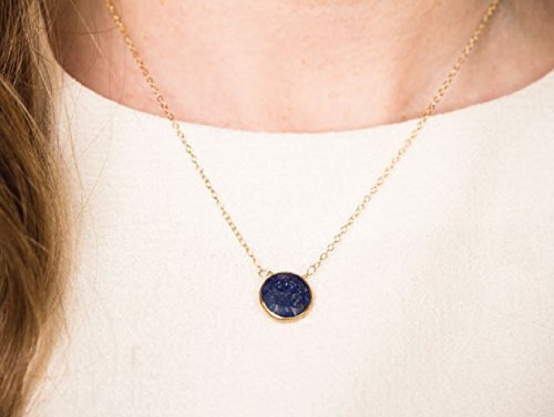 Delicate Small Blue Lapis Gold Dipped Stone Necklace on 14K Gold Filled Chain ()