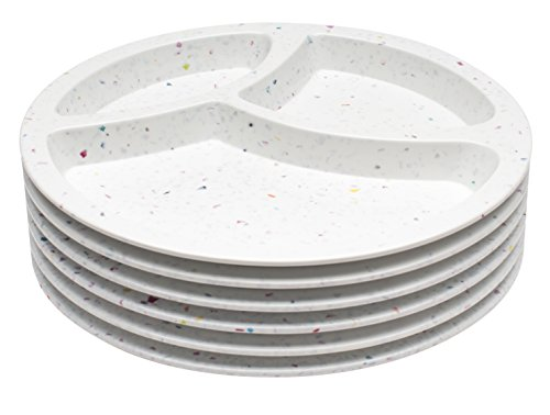 Zak! Designs Confetti Divided Plate (Set of 6), Durable and BPA-free Melamine, 8