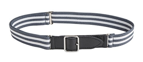 Sportoli8482; Kids Elastic Adjustable Leather Front Stretch Belt with Velcro Closure - Grey/White Bar - Kids Classic Belt