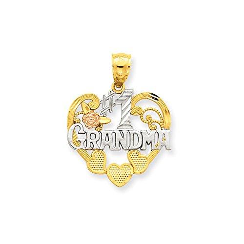 Mireval 14k Two-Tone Gold #1 Grandma Heart Pendant (20 x 25 ()