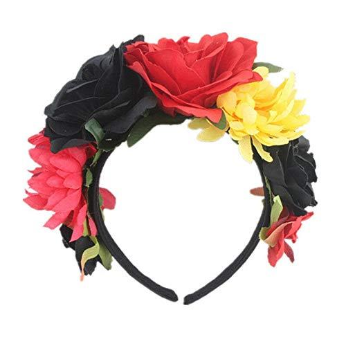 Novel Headband Festival Headband Hairband Floral Garland Headpiece Goodish QP (Color - Black red yellow)