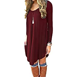 Women's Loose V-Neck Long Sleeve Stretch Solid A-Line Tunic Dresses Wine Red M