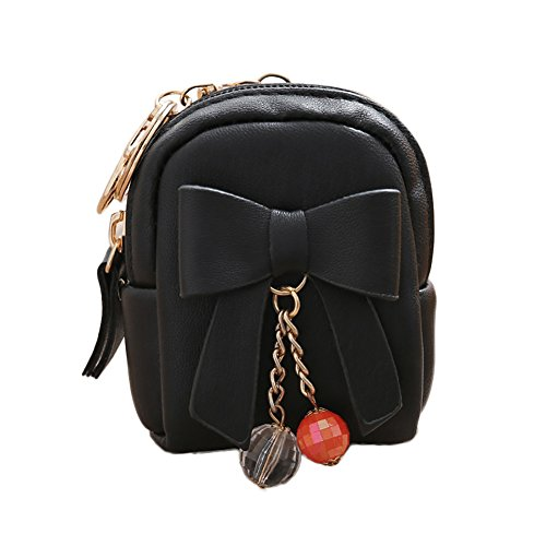 zbtrade Women Faux Leather Mini Coin Purse Keychain Dangle Bead Card Holder Mini Wallet Black ()