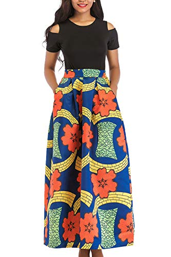 Manches Les Tribus Robes Poche Orange Florales Africaines Maxi Les Courtes Robe Femmes rSSnwxROqY