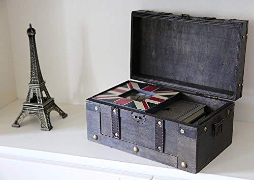SLPR Alexander Wooden Chest - Set of 2   Decorative Storage Trunk with Lid (Rustic Brown)   Antique Wood Chest