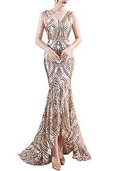 Women's V-Neck Sequins Asymmetrical Mermaid Dress