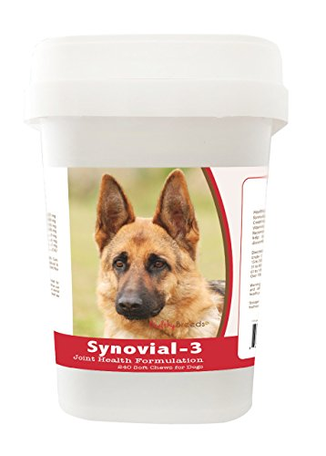Healthy Breeds Synovial 3 Dog Hip & Joint Support Soft Chews for German Shepherd, Brown - OVER 200 BREEDS - Glucosamine MSM Omega & Vitamins Supplement - Cartilage Care - 240 Ct