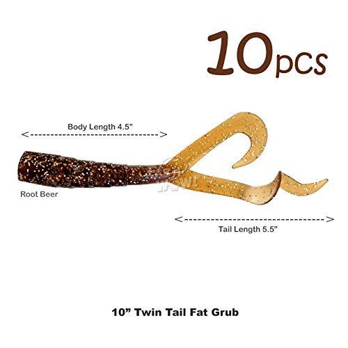 """Fish WOW! 10pcs Root Beer 8 inch Twin Tail Perch Grub 10"""" (with Tail Extended) Scampi Soft Lure Come with a pre-Hole"""